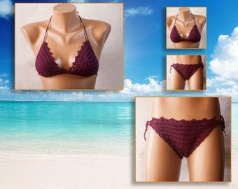 Swimwear hook, red top and bikini panties, Beach Wear  Summer Trends ! knitted swimsuit women beachwear, trends, summer