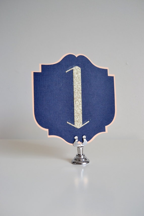 Art deco table numbers navy and champagne by tinselandflair - Deco table campagne ...