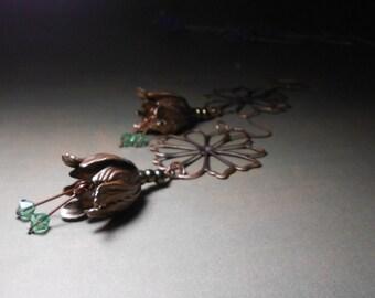 Tulip Earrings - Flower Dangle Earrings - Copper earrings - Very long earrings
