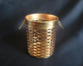 Vintage Seagram Brass Wine Bottle Sleeve, Coaster or Holder