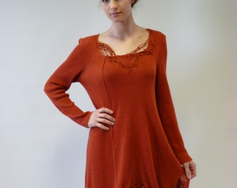 Foxy red tunic, linen, XL size. Very comfy.