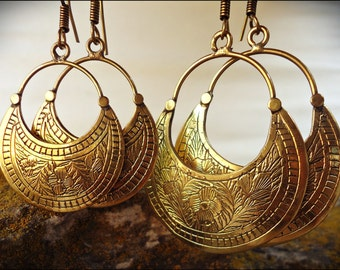 Bronze earrings. Brass Earrings Tribal Ethnic style
