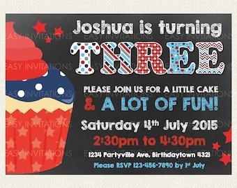 4th July Birthday Invitation Digital, Cupcake and Red Stars on Chalkboard, printable boy girl