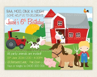 Boy Girl Farm Animal Birthday Invitation Digital Printable Cow Pig Horse