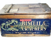 Vintage Wood Oyster Cracker Box Crate, Storage, Home Decor, Hinged Lid