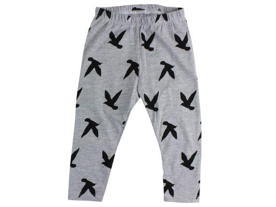 Gray and Black Bird Baby Leggings Toddler Leggings Girl Leggings Boy Leggings Girl Baby Pants Toddler Pants Leggings CHOOSE SIZE