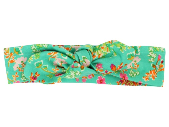 Floral Baby Top Knot Headband Green Floral Adult Knot Headband Baby Headwrap Adult Headwrap Knotted Headband Knotted Headwrap Green and Pink
