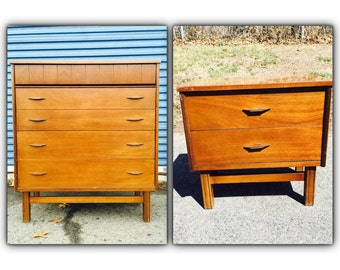 Items Similar To Reduced Mid Century Tall Dresser On Etsy