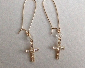 Swarovski crystal Cross earrings in gold