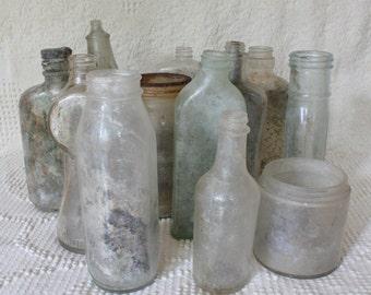 Set of 12 Vintage Glass Bottles