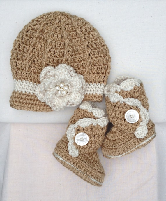 Items similar to Crochet Baby Hat and Boots, Crochet Baby ...