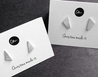 Stud jewellery earring triangle geometric sterling silver