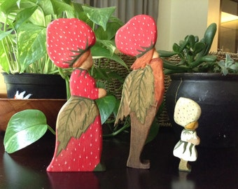 Elsa Beskow character set of 3, Mother and Father Strawberry with child.