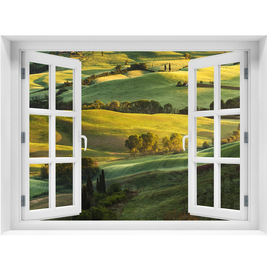 Window wall mural beautiful landscape peel and stick fabric for Door mural stickers