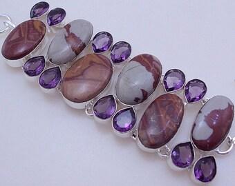 73 gram stunning LAND SCAPE JASPER  stone  .925 sterling silver bangle bracelet free shipping