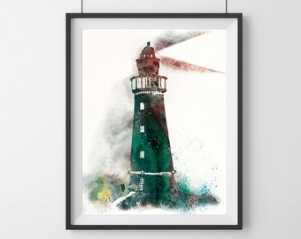 Lighthouse Watercolor Art Print, Abstract Painting, Lighthouse art print,Wall Decor, Lighthouse watercolour painting, Lighthouse print- 33
