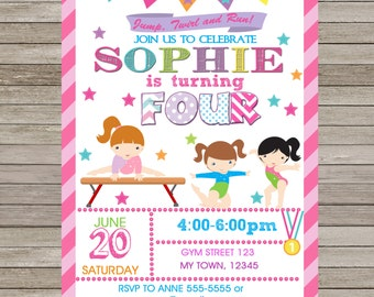 Gymnastic Birthday Invitation Pink  Printable,Gymnastic Party,Gymnastic Personalized,Gymnastics Birthday Printable