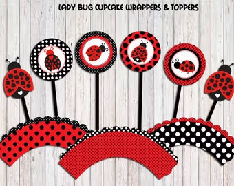 Ladybug Cupcake Toppers and Wrappers , Ladybug Toppers, Ladybug Stickers, Ladybug Party Printable, Ladybug favors DIY, Instant Download