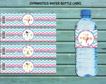 Gymnastic Water Bottle Label, Gymnastic favor,Gymnastic party supplies,Gymnastic Birthday, Gymnastic Label, Gymnastic Decor Instant Download