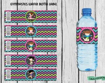 Gymnastic Water Bottle Label,Gymnastic favor,Gymnastic party supplies, Gymnastic Birthday,Label, Gymnastic Decor Instant Download