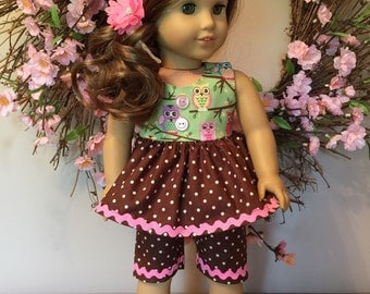 "American girl or 18"" doll owl top and capri set    Ready to ship!!!!"