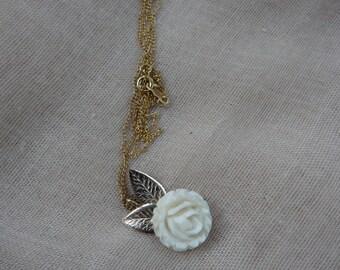14K Gold-filled  White Rose Necklace