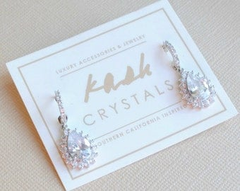 Bridesmaids Teardrop Wedding Earrings, Cubic Zirconia Earrings
