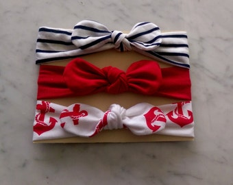Knot Baby Headband Pack in Red, white, and blue , patriotic knot Jersey, July 4th Headband, Jersey headband,, Baby Girl Gift, Solid Headband
