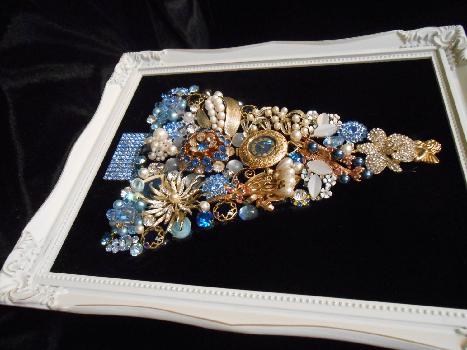 Framed Blue And Gold Elegant Vintage Jewelry Tree With