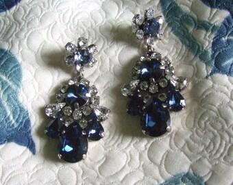 Sapphire Earrings Blue Crystal Statement Chandelier Pierced