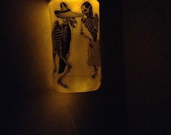 SALE!!! Dia de Los Muertos (Day of the Dead) Posada's Dancers  night light lantern