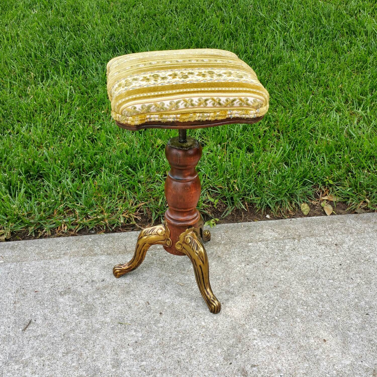 Antique Piano Stool With Metal Legs Adjustable Height