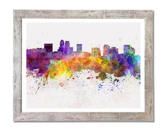 Newark skyline in watercolor background - SKU 0993