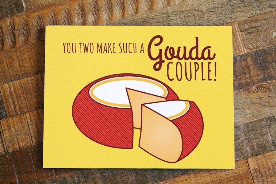 Funny Wedding Card Gouda Couple Cheese Pun Card