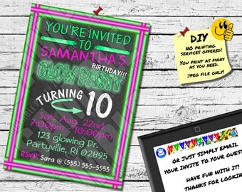 GLOW PARTY CHALKBOARD Invitation Printable Invite or Evite. Cool Neon Chalk!!! (My shop has a matching thank you card)