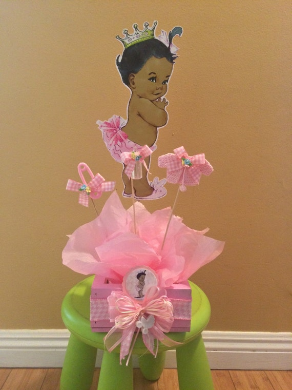 African american baby shower centerpiece baby shower for Baby clothesline decoration baby shower
