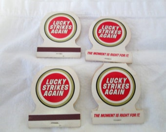 Vintage Lot of 4 Unused LUCKY STRIKE Matchbooks Lucky STrikes Again!