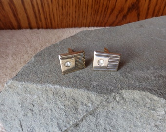 Cuff Links Vintage Gold Tone Plated with a little rinestone Men's Accessories Fashion