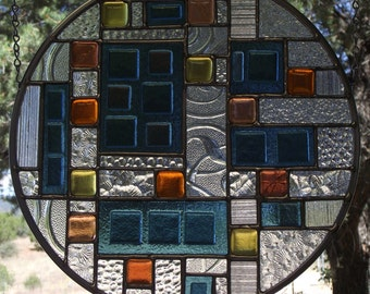 Stained - Fused Glass Window Panel - Abstract Contemporary Original Design - 12 inch round - P1217