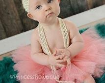 Peach Baby Tutu, Coral Baby Tutu, Tulle Tutu For Babies, Handmade Pink Peach Little Girl Tutu, babies first tutu