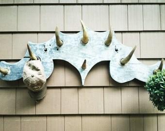 Vintage handmade horn coat rack