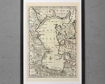 ANTIQUE MAP of the CASPIAN Sea Antique Wall Art - Vintage Caspian Sea Map -  Antique Travel Poster Caspian Sea wall art Home decor Map Ribba
