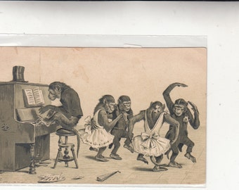 Dressed Monkeys Playing Piano And Dancing Antique Postcard, Embossed,Circa 1910