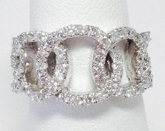 1.00CT Diamond Anniversary Ring Art Deco Right Hand Rings Infinity Circles Interlocking Wedding Band Platinum 18K 14K Rose Yellow White Gold