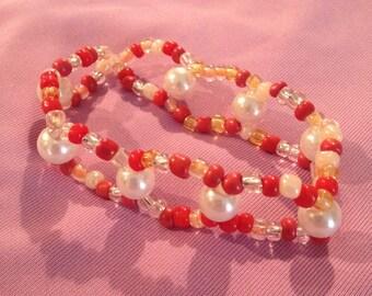 Beaded Bracelet-Peaches & Cream