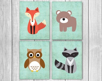 75% OFF SALE Woodland Nursery Decor (Set of Four 8x10s) - Fox Nursery Art, Bear, Owl, Raccoon, Nursery Wall Decor, Woodland Creatures