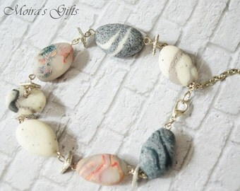 Pebble stone bracelet - Faux pebble rock - Polymer clay jewelry- Gift ideas - For her - Beach stone bracelet - Spring colors
