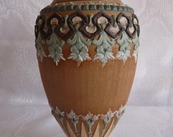 "19c Royal DOULTON LAMBETH England Silicon Ware Stoneware 7"" Tall Aesthetic Period VASE"