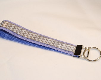 Key Fob - Gray and White Chevrons on Purple