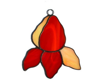 Stained Glass Flower Ornament in red and orange colors, Stained Glass Iris Suncatcher D1, Window Decoration or Wall Decor